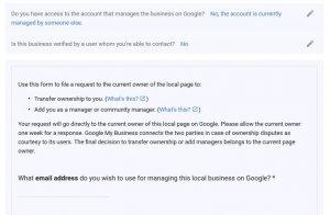 claiming ownership of Google my business policy