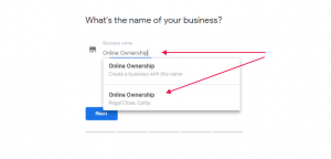claiming ownership of Google my business