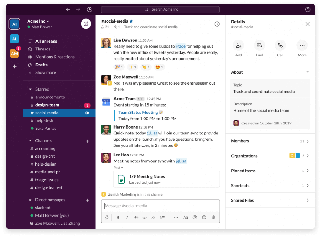 Slack group screenshot